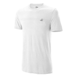 Camisetas de Tenis Hombre Wilson Competition Seamless Crew Camiseta  White WRA773511