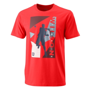 Camisetas de Tenis Hombre Wilson Geo Play Tech Camiseta  Infrared WRA779503