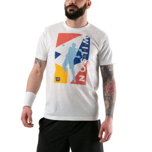 Camisetas de Tenis Hombre Wilson Geo Play Tech Camiseta  White WRA779501