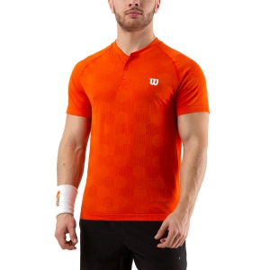 Men's Tennis Polo Wilson Power Seamless Henley Polo  Tangerine Tango WRA778801