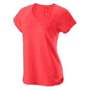 Women`s Tennis T-Shirts and Polos Wilson Training V Neck TShirt  Cayenne WRA775905