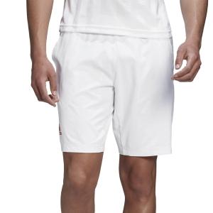 Men's Tennis Shorts Adidas Ergo 9in Shorts  White/Scarlet FR4319