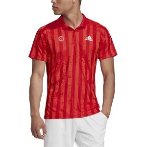 Polo Tennis Uomo Adidas Freelift Graphic Polo  Scarlet/White FT5810
