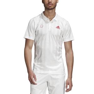 Men's Tennis Polo Adidas Freelift Graphic Polo  White/Scarlet FR4318