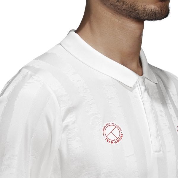 Adidas Freelift Graphic Polo - White/Scarlet