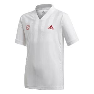 Polo e Maglie Tennis Adidas Freelift Maglietta Bambino  White/Scarlet GE4820