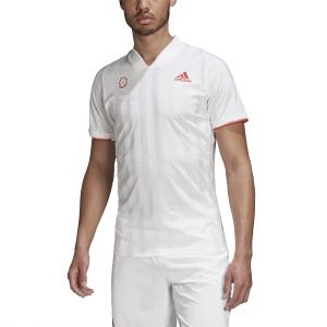 Men's Tennis Shirts Adidas Freelift TShirt  White/Scarlet FR4317