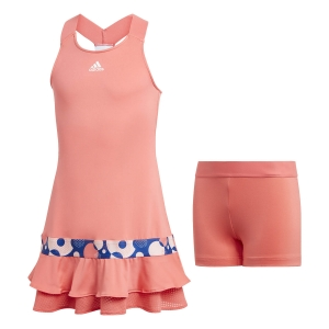 Vestitino Tennis Girl Adidas Frill Vestito Bambina  Semi Flash Red GE4813