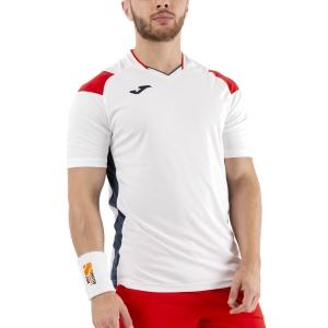 Maglietta Tennis Uomo Joma Crew III Maglietta  White/Dark Navy/Red 101269.206