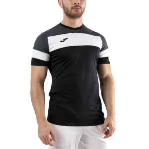 Men's Tennis Shirts Joma Crew IV TShirt  Black/Anthracite/White 101534.110