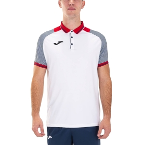 Polo Tenis Hombre Joma Essential II Polo  White/Red/Dark Navy 101509.203