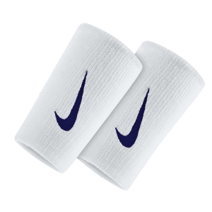 Tennis Head and Wristbands Nike Premier DoubleWide Wristbands  White/Blackened Blue N.000.2466.117.OS