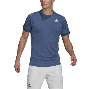 Men's Tennis Shirts adidas Freelift TShirt  Crew Blue/White/Hazy Blue GL5338