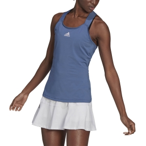 Top de Tenis Mujer adidas YSign AEROREADY Top  Crew Blue/White GL6049