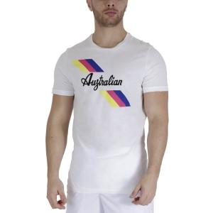 Men's Tennis Shirts Australian 3 Lines Graphic TShirt  Bianco TEUTS0008002