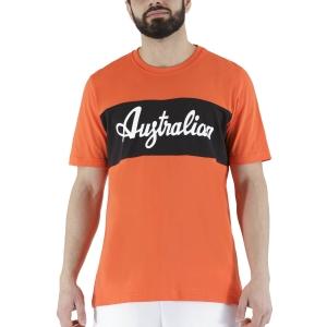 Men's Tennis Shirts Australian Print TShirt  Lava Red/Black LSUTS0004149