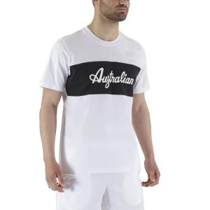 Men's Tennis Shirts Australian Print TShirt  Bianco LSUTS0004002