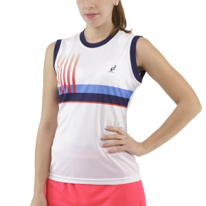 Canotte Tennis Donna Australian Printed Stripes Canotta  Bianco TEDTS0002002
