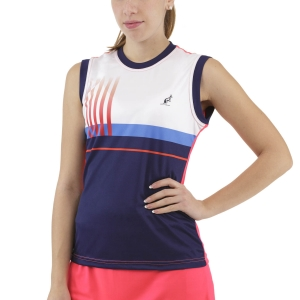 Canotte Tennis Donna Australian Printed Stripes Canotta  Psyco Red TEDTS0002419