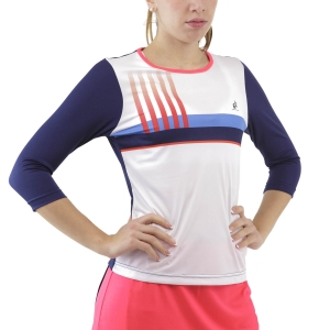 Maglie e Felpe Tennis Donna Australian Printed Stripes Player Maglia  Bianco TEDTS0001002