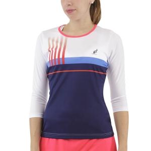 Maglie e Felpe Tennis Donna Australian Printed Stripes Player Maglia  Blu Cosmo TEDTS0001842