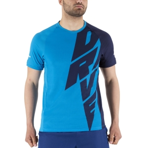 Men's Tennis Shirts Babolat Drive Crew TShirt  Drive Blue 2MS21011X4086