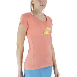 Women`s Tennis T-Shirts and Polos Babolat Exercise Big Flag TShirt  Living Coral Heater 4WS214426012