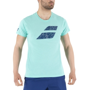 Men's Tennis Shirts Babolat Exercise Big Flag TShirt  Cockatoo Heather 4MS214428003