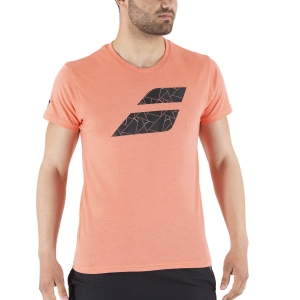 Men's Tennis Shirts Babolat Exercise Big Flag TShirt  Living Coral Heather 4MS214426012