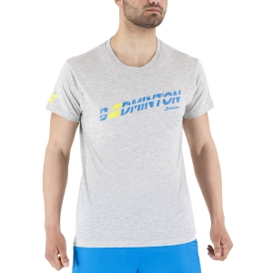 Men's Tennis Shirts Babolat Exercise Message TShirt  High Rise Heather 4MS214453002