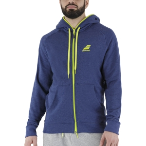 Men's Tennis Jackets Babolat Logo Hoodie  Estate Blue Heather 6MS211214005