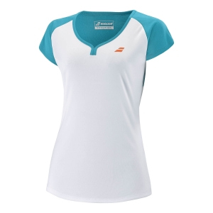 Top and Shirts Girl Babolat Play Cap TShirt Girl  White/Caneel Bay 3GTB0111048
