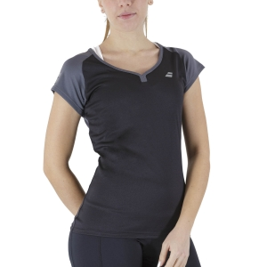 Women`s Tennis T-Shirts and Polos Babolat Play Cap TShirt  Black 3WP10112000