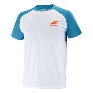 Tennis Polo and Shirts Babolat Play Crew Neck TShirt Boy  White/Caneel Bay 3BTB0111048