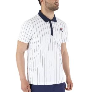 Polo Tennis Uomo Fila Stripes Bjorn Polo  White Alyssum/Peacoat Blue FRM2020312012
