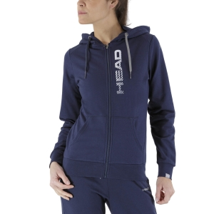 Women's Tennis Shirts and Hoodies Head Club Greta Hoodie  Dark Blue/White 814499DBWH