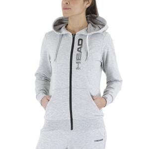 Women's Tennis Shirts and Hoodies Head Club Greta Hoodie  Grey Melange/Black 814499GMBK