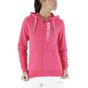 Women's Tennis Shirts and Hoodies Head Club Greta Hoodie  Magenta/White 814499MAWH