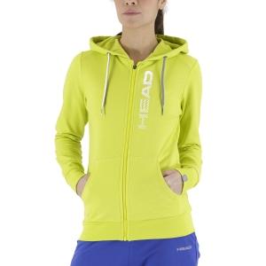 Women's Tennis Shirts and Hoodies Head Club Greta Hoodie  Yellow/White 814499YWWH