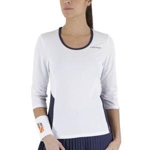 Women's Tennis Shirts and Hoodies Head Club Tech 3/4 Shirt  White/Dark Blue 814359WHDB