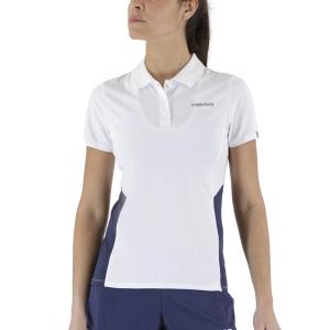 Camisetas y Polos de Tenis Mujer Head Club Tech Polo  White/Dark Blue 814339WHDB