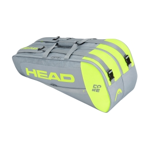 Tennis Bag Head Core x 6 Combi Bag  Grey/Neon Yellow 283401 GRNY