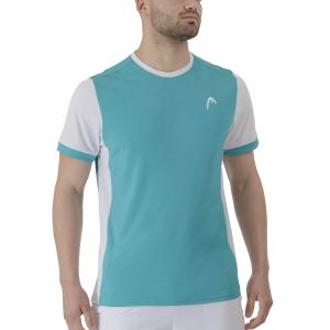 Men's Tennis Shirts Head Davies Vision TShirt  Turquoise/White 811301TQWH