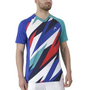 Men's Tennis Shirts Head Striker TShirt  Royal/Print Vision 811391ROXV