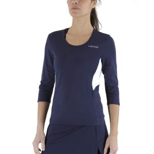 Women's Tennis Shirts and Hoodies Head Club Tech 3/4 Shirt  Dark Blue 814359DB