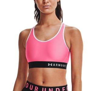 Tennis Women's Underwear Under Armour Mid Sports Bra  Cerise/Black/White 13071960653
