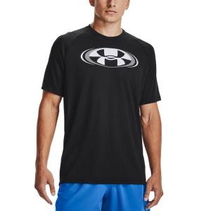 Men's Tennis Shirts Under Armour Tech 2.0 Circuit TShirt  Black/White 13616990001