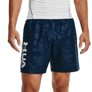 Men's Tennis Shorts Under Armour Woven Emboss 8in Shorts  Academy/White 13614320408