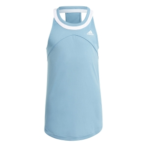 Top e Maglie Girl adidas Club Primegreen Canotta Bambina  Hazy Blue/White GK8167
