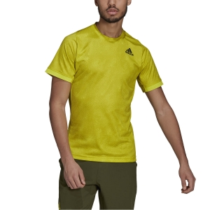 Men's Tennis Shirts adidas Freelift Print Primeblue TShirt  Acid Yellow/Wild Pine/White GQ2221